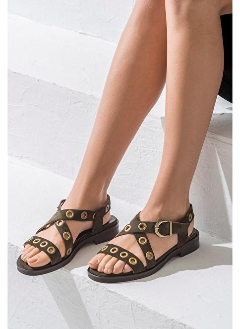 Elle Deri Sandalet Haki